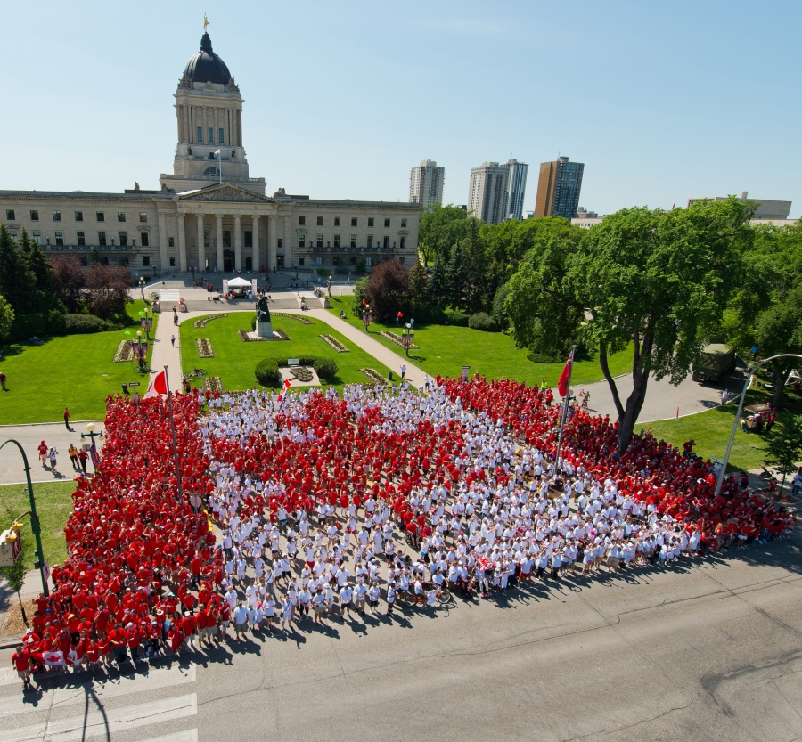 Living Flag on Canada Day 2012 at the Manitoba Legislative Buildling (Dan Harper)
