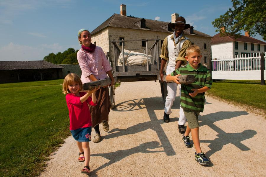 Pulling an Oxcart at Lower Fort Garry (Parks Canada)