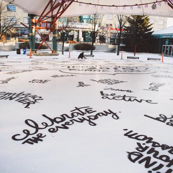 Artist Kalbarteski's inspirational writing on The Forks' Canopy Rink (The Forks)