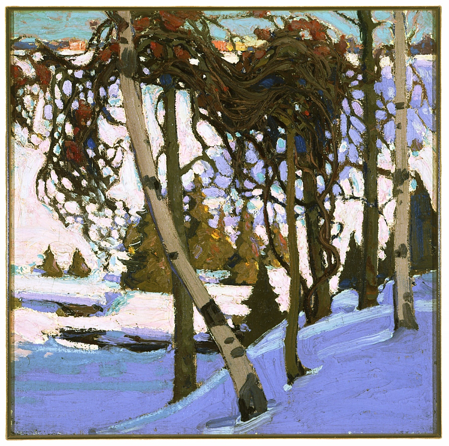 Tom Thomson - Early Snow, 1916 oil on canvas 45.5 x 45.5 cm Collection of the Winnipeg Art Gallery Acquired with the assistance of a grant from the Canadian Government
