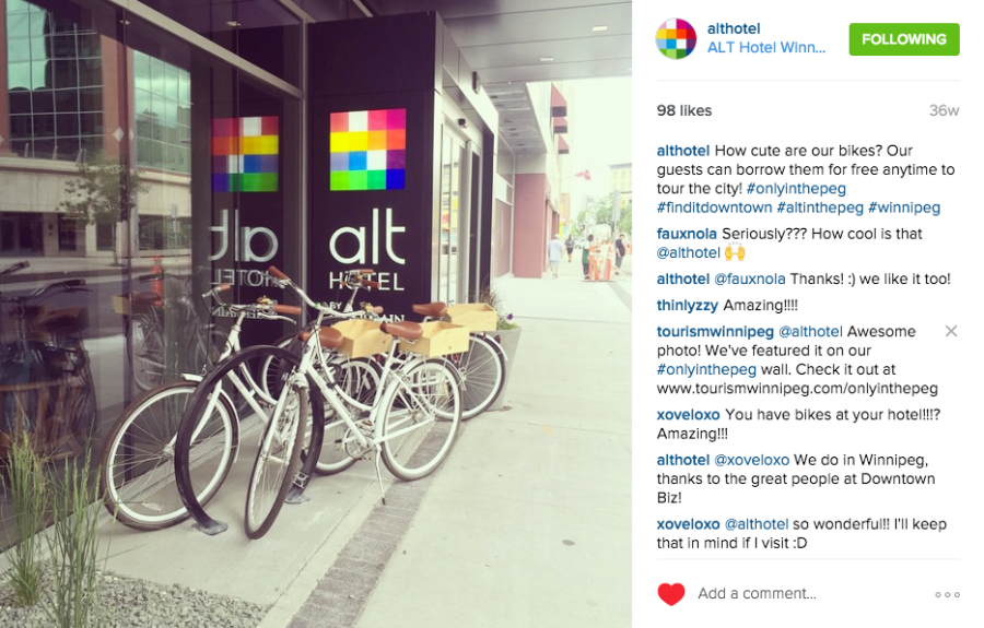 At the ALT Hotel Winnipeg they've thought of everything, including free bikes in the spring/summer/fall (@AltHotel)